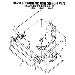 1109219551 Automatic Washer Bleach, detergent and rinse dispenser Parts diagram