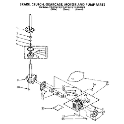 1109219551 Automatic Washer Brake, clutch, gearcase, motor and pump Parts diagram