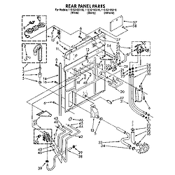 1109219551 Automatic Washer Rear panel Parts diagram