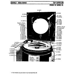A806 Washer Top cover up prior to series 1 Parts diagram
