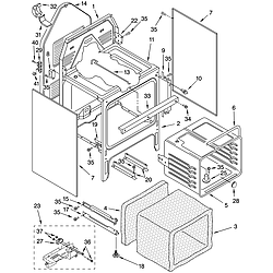 GJP84802 Free Standing - Electric Oven chassis Parts diagram