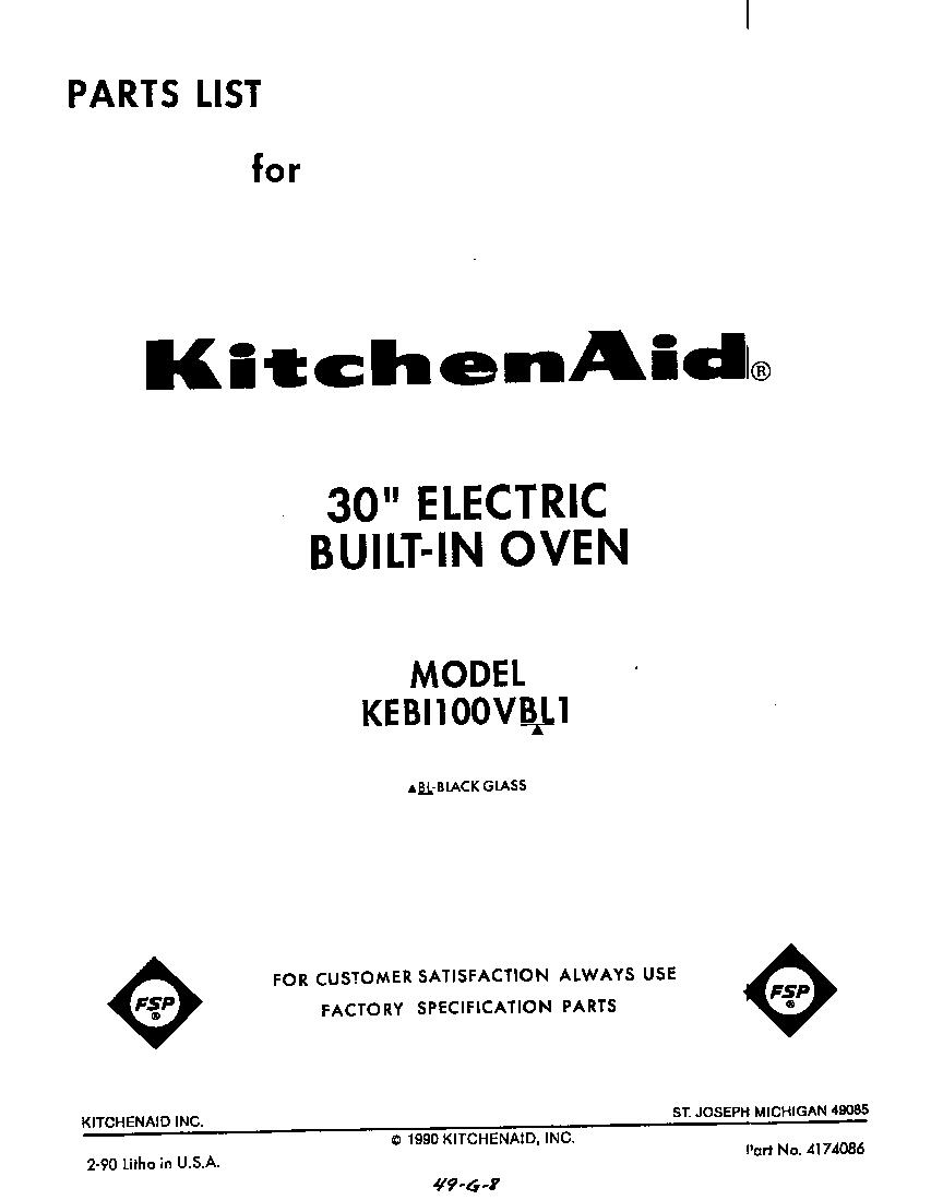 kitchenaid kebi100vbl electric built in oven timer stove. Black Bedroom Furniture Sets. Home Design Ideas