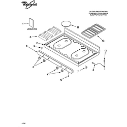 SF315PEPW1 Free Standing - Gas Cooktop Parts diagram