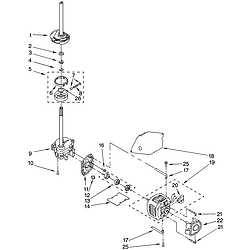 110258424 Automatic Washer Brake, clutch, gearcase, motor and pump Parts diagram
