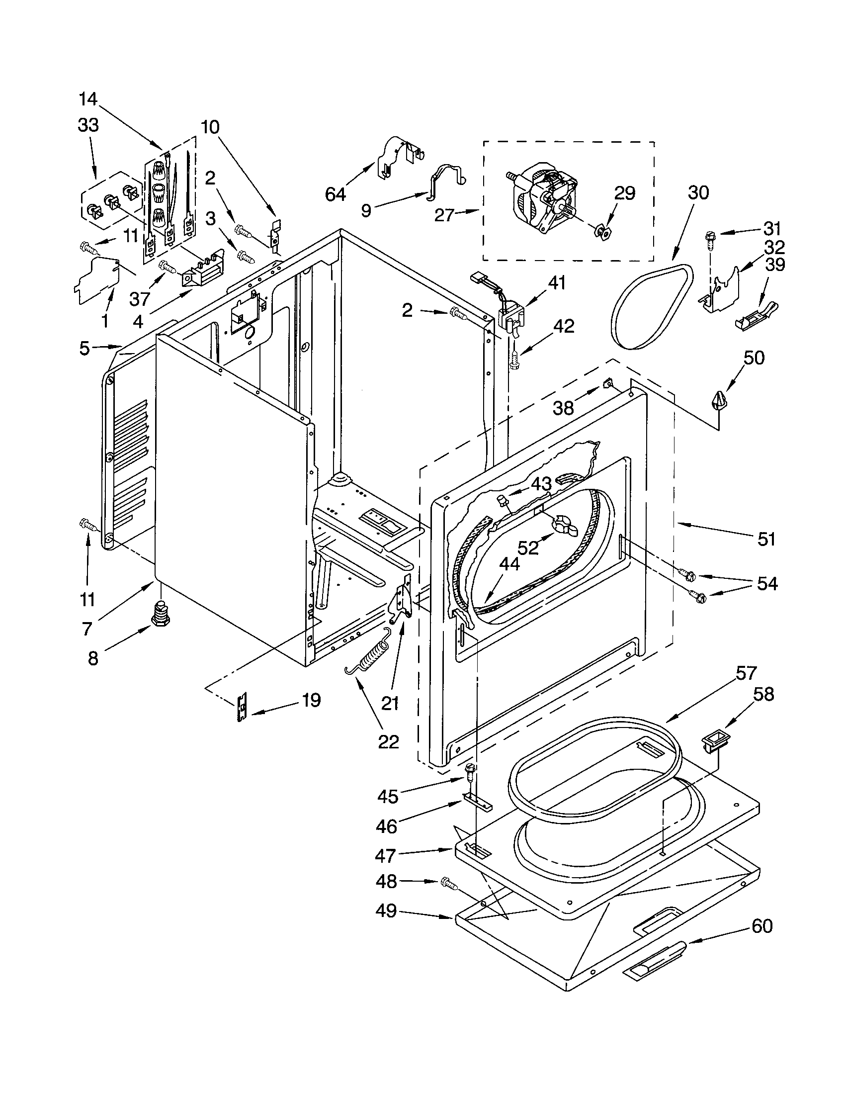 11062622101 Electric Dryer Cabinet Parts diagram