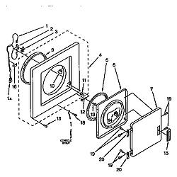 110985751 Washer/Dryer Dryer front panel & door Parts diagram