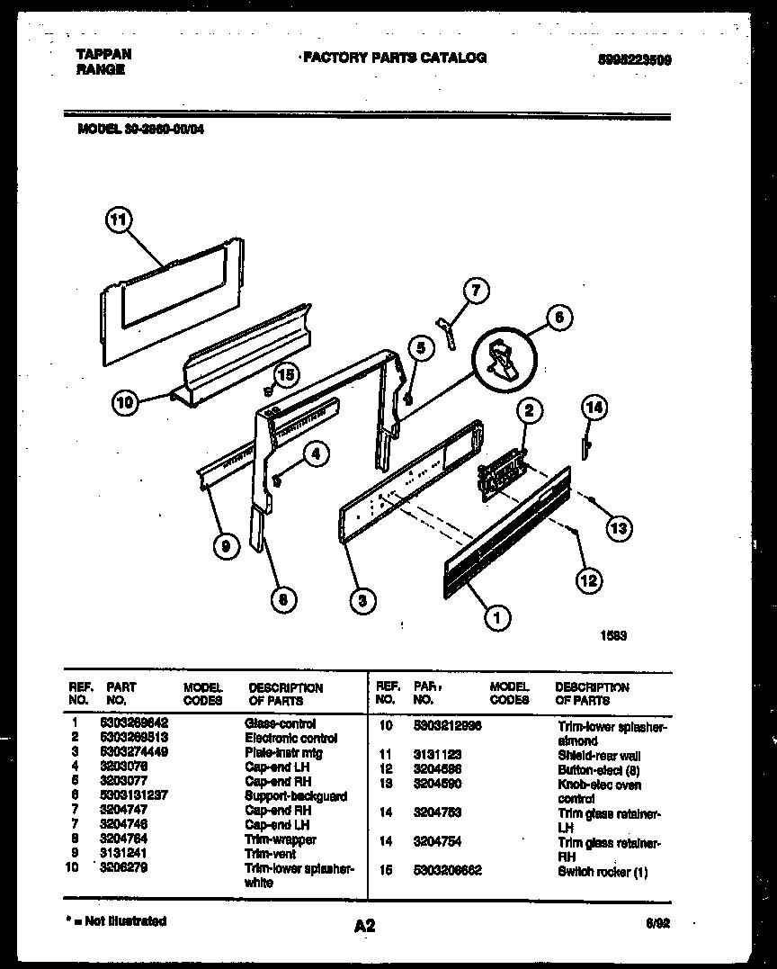 Tappan 3038602304 Range - Gas Timer