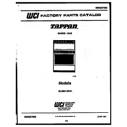 3039912303 Range - Gas Cover page Parts diagram
