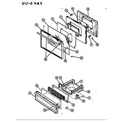 31JA5KX Range Door Parts diagram
