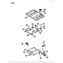 31JA5KX Range Top assy./control system Parts diagram