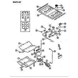 34JN5TKVW Range Top assembly/gas controls Parts diagram