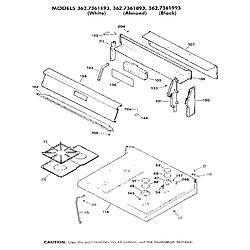 362736189 Gas Range Main top section Parts diagram