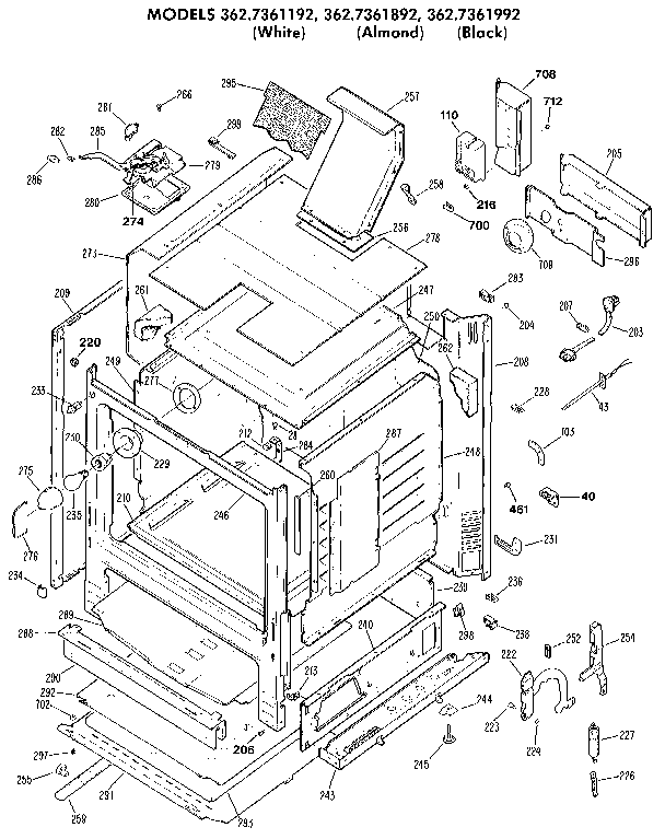 3627361892 Gas Range Cabinet Parts Diagram