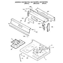 3627361892 Gas Range Main top section Parts diagram