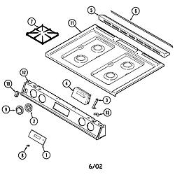 6498VTA Gas Range Top assembly Parts diagram