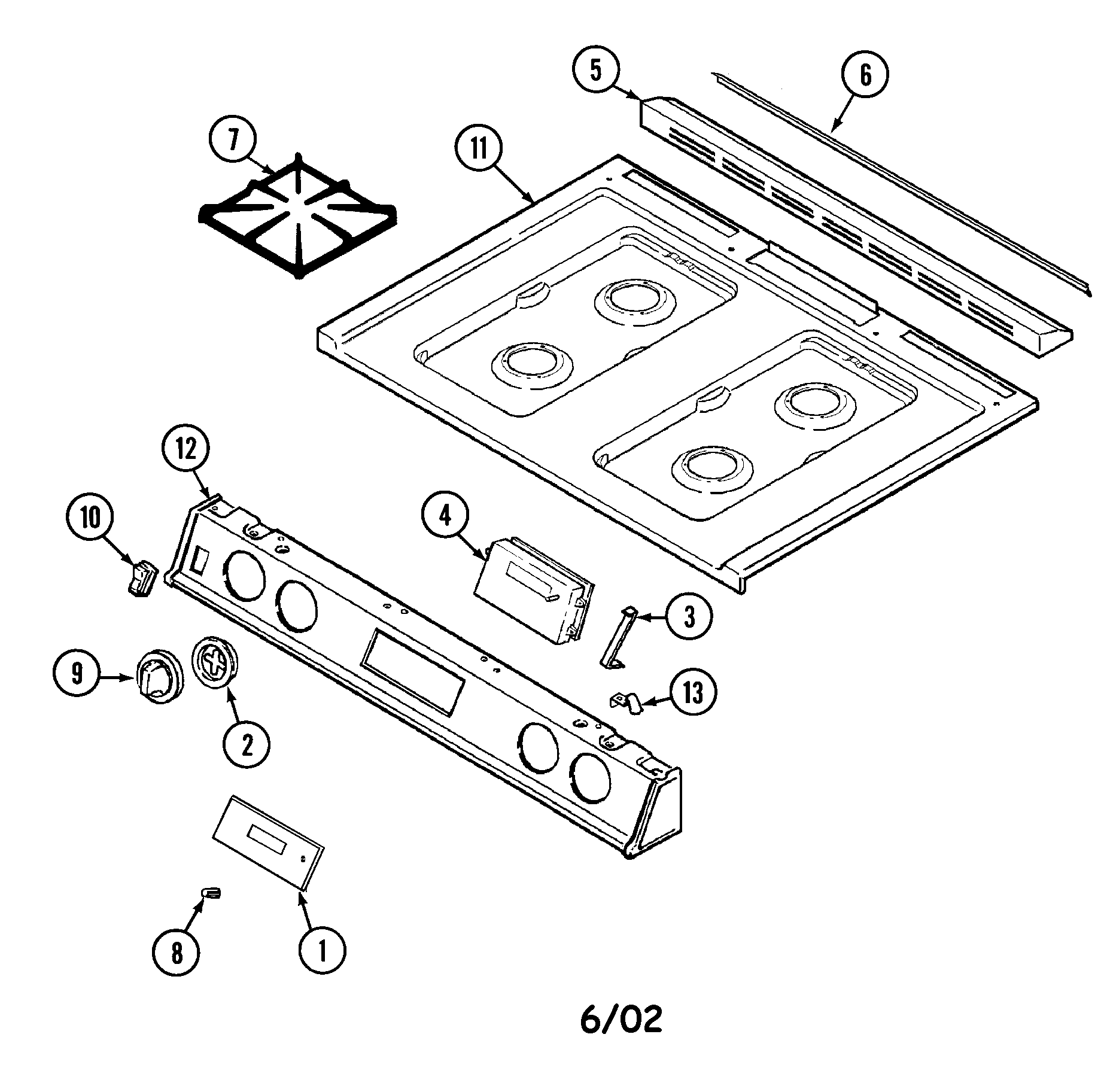 6498vta gas range top assembly parts diagram