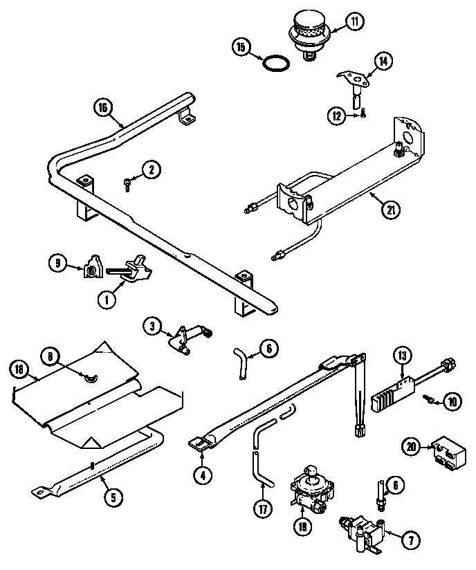 6498vvv gas range gas controls parts diagram