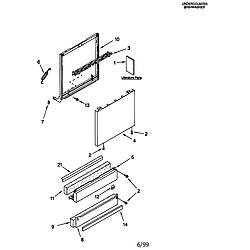 66515982990 Dishwasher Door and panel Parts diagram