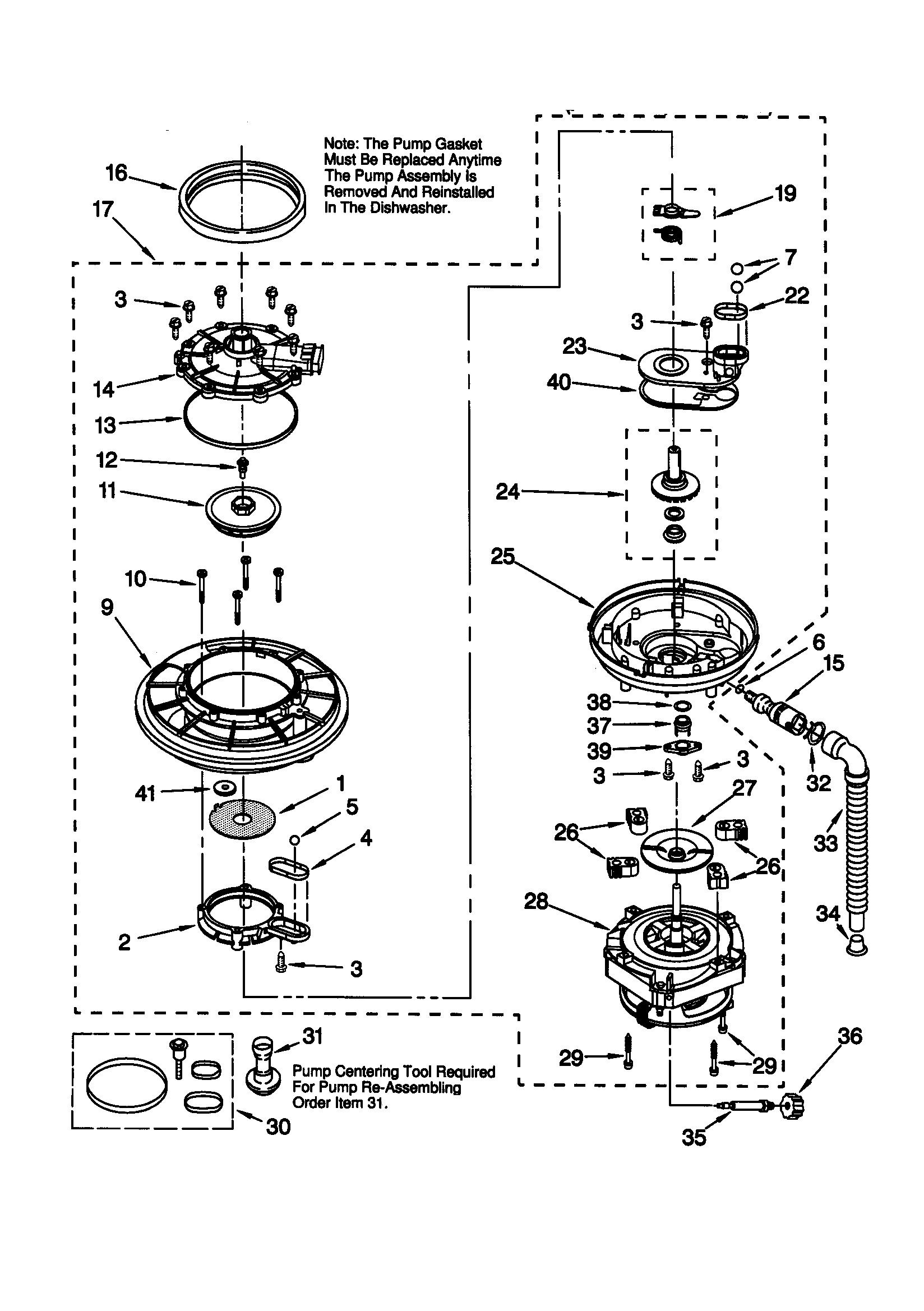 66515982990 Dishwasher Pump and motor Parts diagram