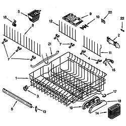 66515982990 Dishwasher Upper rack and track Parts diagram