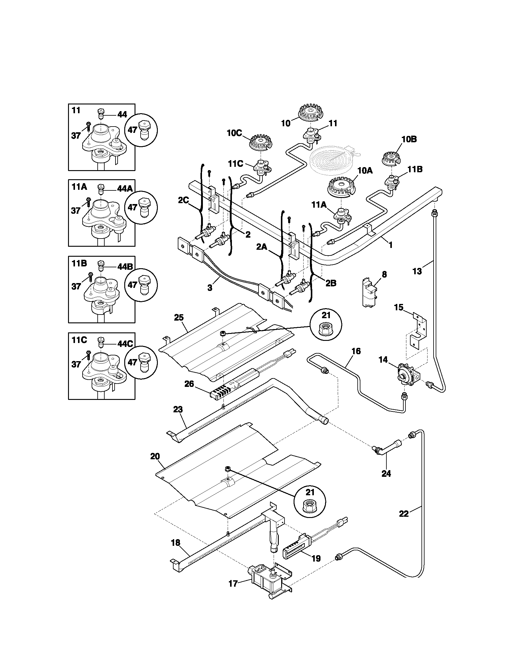 79079013102 Gas Range Burner Parts Diagram