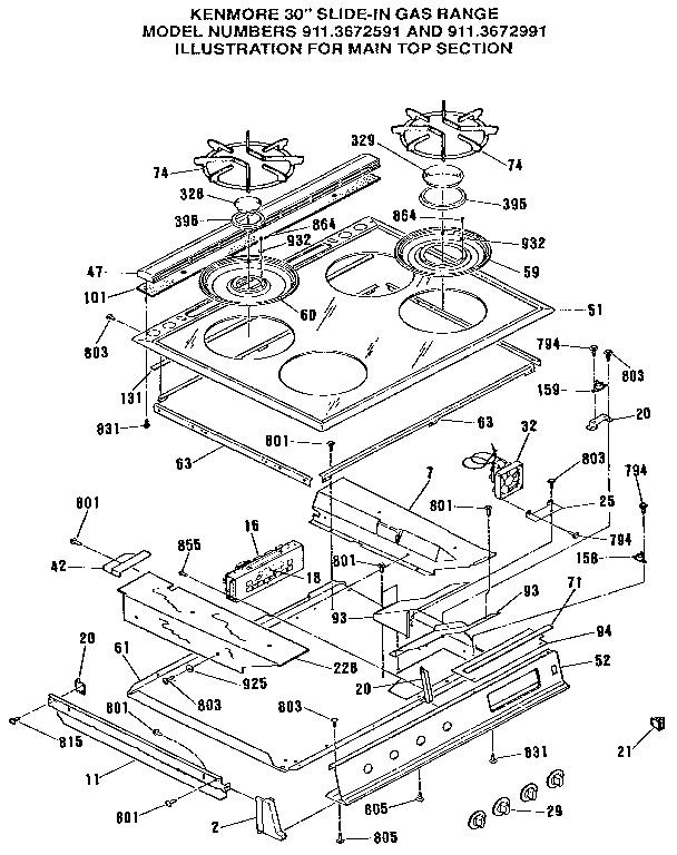 9113672991 Gas Range Main Top Section Parts Diagram