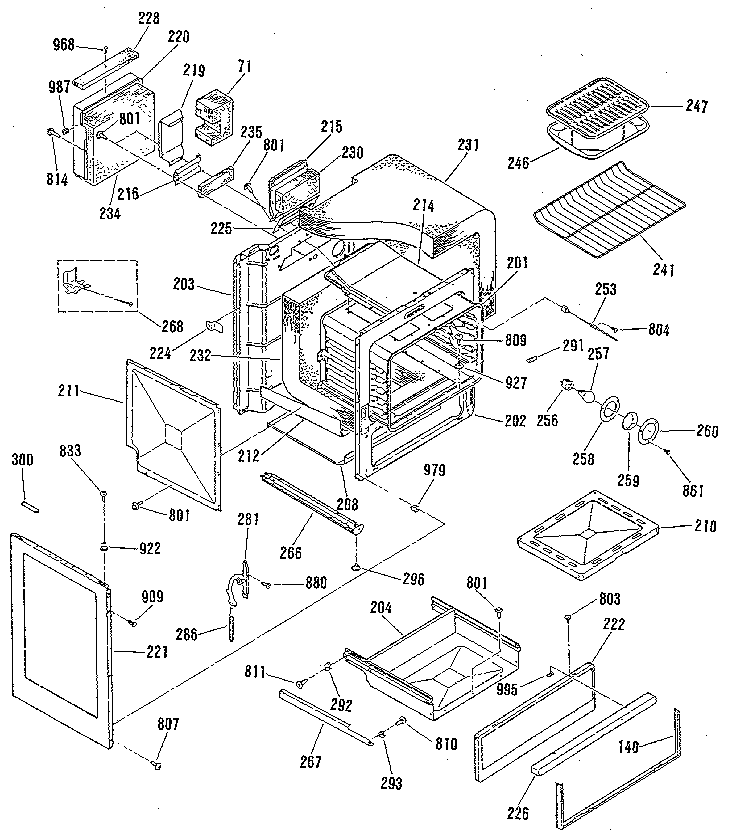 9117390991 Gas Range Body Section Parts Diagram