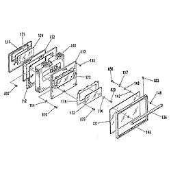 911936918 Electric Range Oven door section Parts diagram