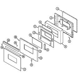 9475XVB Range Door (ser. pre. 14) Parts diagram