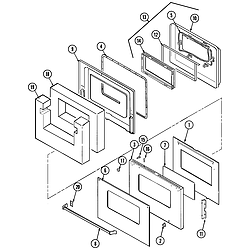 9825VUV Electric Oven Door (upper) Parts diagram
