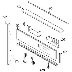 9875XRB Range Control panel Parts diagram