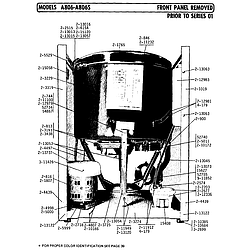 A806 Washer Front panel removed prior to series 01 Parts diagram
