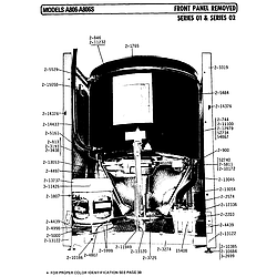 A806 Washer Front panel removed series 01 and 02 Parts diagram