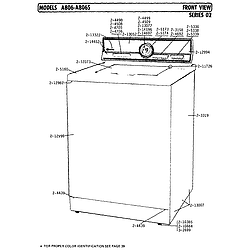 A806 Washer Front view series 2 Parts diagram