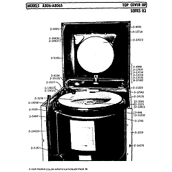 A806 Washer Top cover up series 02 Parts diagram