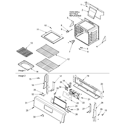 ACF3325AW Gas Range Cavity and backguard Parts diagram