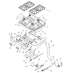 ACF3325AW Gas Range Maintop and gas supply Parts diagram