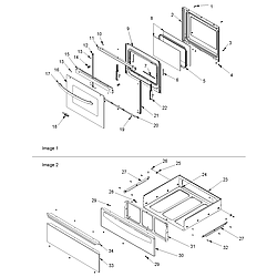 ACF4225AW Electric Range Oven door and storage drawer Parts diagram