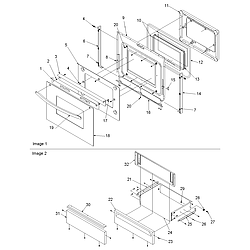 ACS3350AW Slide-in Self Cleaning Gas Range Oven door & storage drawer Parts diagram