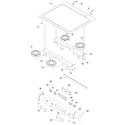 ACS4250AC Range Main top and backguard Parts diagram