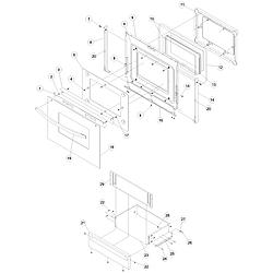 ACS4250AC Range Oven door and storage drawer Parts diagram