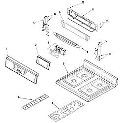AGR5835QDQ Freestanding Gas Range Control panel/top assembly Parts diagram