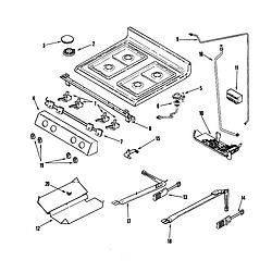 AGR5835QDQ Freestanding Gas Range Gas controls Parts diagram