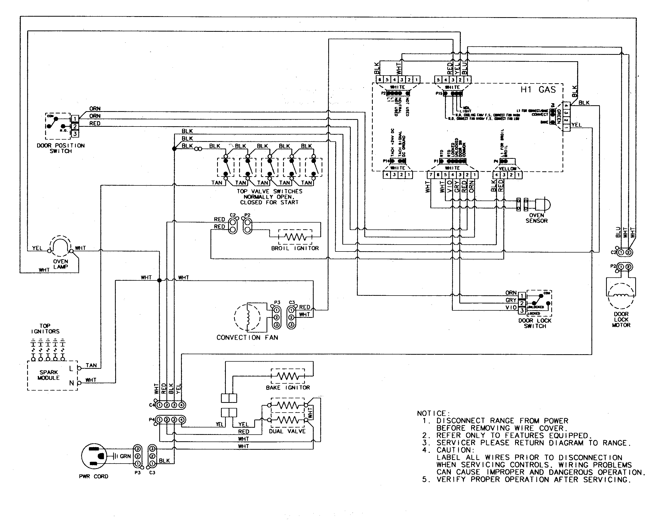 AGR5835QDQ Freestanding Gas Range Wiring information Parts diagram
