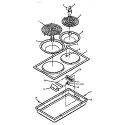 ARDS800WW Electric Range Cooktop Parts diagram