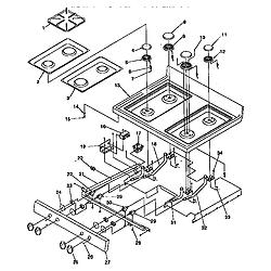 ARG7600 Gas Range Main top Parts diagram