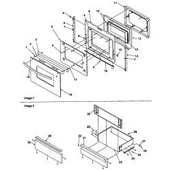 ARG7800 Gas Range Oven door and storage door Parts diagram