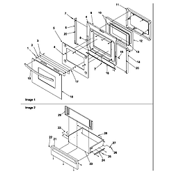 ARG7800E Gas Range Oven door and storage drawer Parts diagram