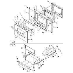 ARGS7650 Gas Range Oven door & storage drawer Parts diagram
