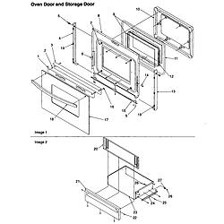 ART6511LL Amana ART6511LL Timer/Clock/ERC Oven door and storage door Parts diagram